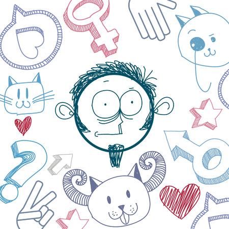 temperament: Vector art colorful drawing of surprised person, education and social network design elements isolated on white. Allegory illustration, emotions and human temperament concept. Illustration