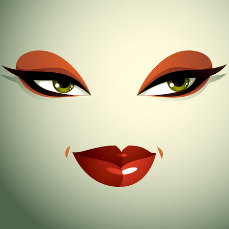 tricky: Emotional expression on the face of a cute girl. Beautiful sexy and tricky woman with a modern makeup.