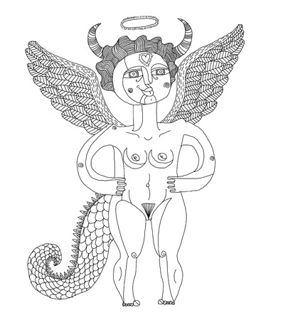 nude woman: Vector illustration of mystic creature, nude woman with wings, animal side of human being. Goddess conceptual hand drawn allegory image.