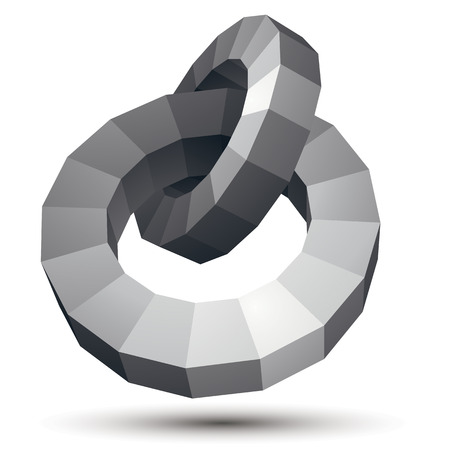 Vector complicated 3d figure, modern digital technology style form, circles. Abstract unusual gray three-dimensional object.