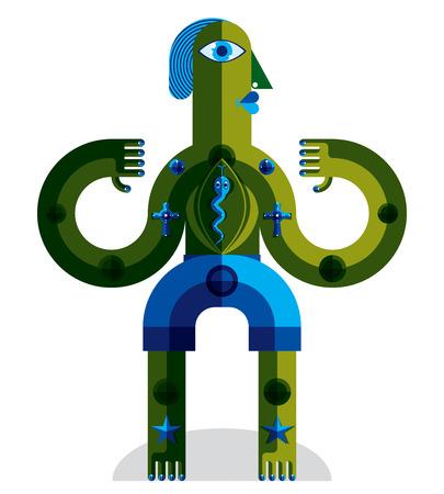 estrella de la vida: Ilustraci�n extra�a criatura vector, el cubismo foto gr�fico moderno. Imagen Dise�o plano de un car�cter extra�o aislado en blanco. Vectores