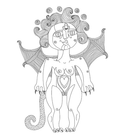 nude woman: Vector illustration of weird creature, nude woman with wings, animal side of human being. Goddess conceptual hand drawn allegory image.