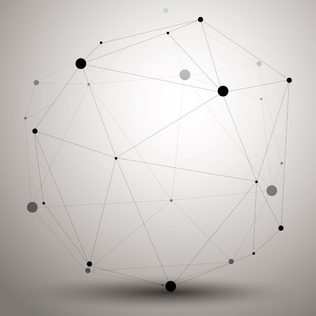 spatial: Spatial technological contrast shape, polygonal single color wireframe object.