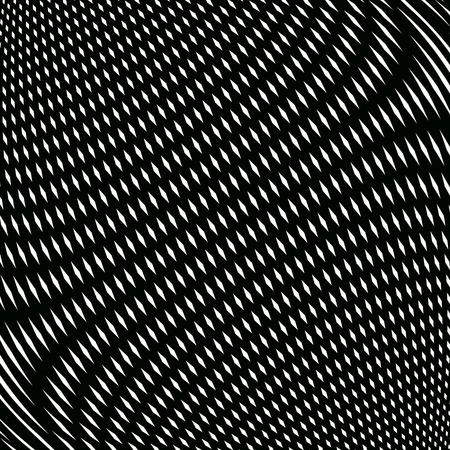 moire: Op art, moire pattern. Relaxing hypnotic background with geometric black lines.