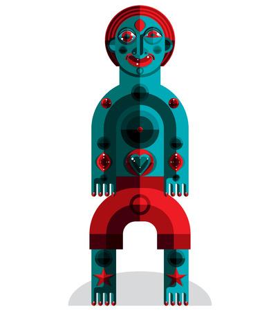 cubismo: Ilustración vectorial tema de meditación, dibujo de una criatura espeluznante en estilo modernista. Ídolo espiritual creado en estilo del cubismo. Vectores