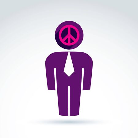 worker man: White collar office worker man icon peace sign, conceptual vector symbol.