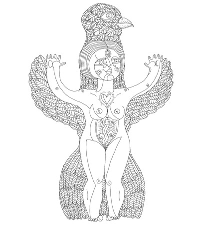 nude woman: Vector black and white illustration of weird creature, nude woman with wings, animal side of human being. Goddess conceptual hand drawn allegory image.