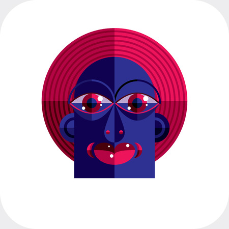 personality: Avant-garde avatar, personality face created in cubism style. Modernistic geometric portrait, multicolored vector illustration of facial expression.