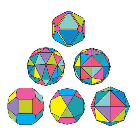 facet: Collection of 6 complex dimensional spheres and abstract geometric figures with black outline. Colorful kaleidoscope facet. Fractal 3D symbolic globes.