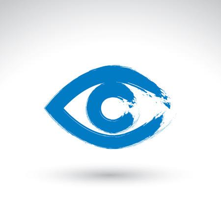 lens brush: Hand drawn human eye icon, brush drawing blue medicine sign, original hand-painted eye isolated on white background. Illustration