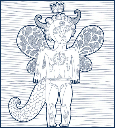 artistic nude: Vector hand drawn graphic lined illustration of weird creature, cartoon nude man with wings, animal side of human being. Prince or king artistic allegory drawing.