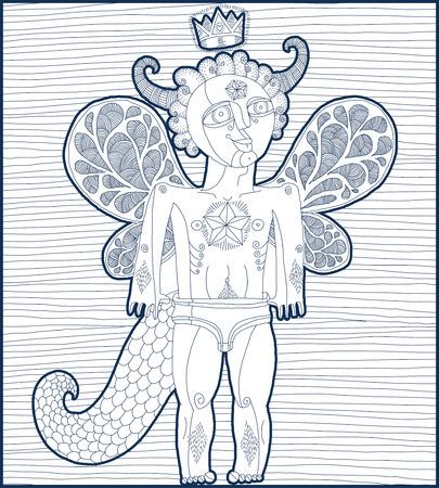 nude mann: Vector Hand gezeichnete Grafik gezeichnet Illustration der seltsame Kreatur, cartoon nackten Mann mit Fl�geln, tierische Seite des Menschen. Prinz oder K�nig k�nstlerische allegorie der Zeichnung.
