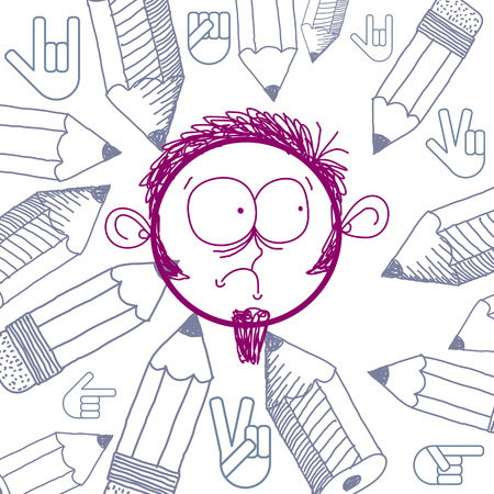 temperamento: Arte del vector colorido dibujo de triste persona deprimida, educaci�n y sociales elementos de dise�o de la red aislados en blanco. Ilustraci�n Alegor�a, las emociones y el concepto de temperamento humano. Vectores