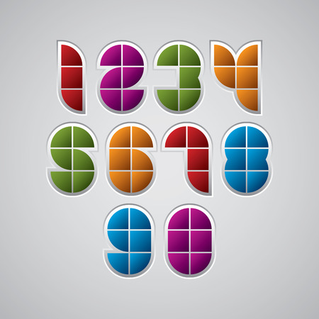 discrete: Colorful optical geometric sectored numbers with white outline. Illustration