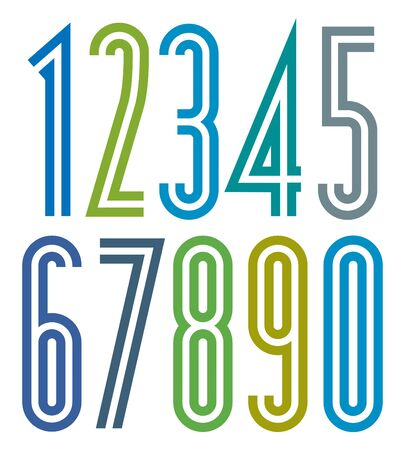 pr: Poster geometric bright simple striped numbers with double lines.
