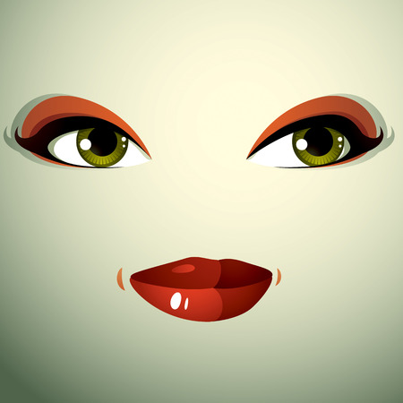 physiognomy: Attractive woman with stylish bright make-up. Sexy Caucasian distrustful lady. Human eyes and lips reflecting emotions, doubt. Illustration