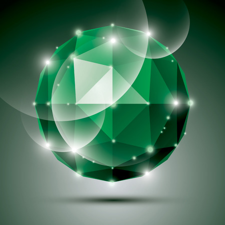 gleam: Abstract 3D emerald gleam sphere with sparkles, green precious stone, eps10. Illustration