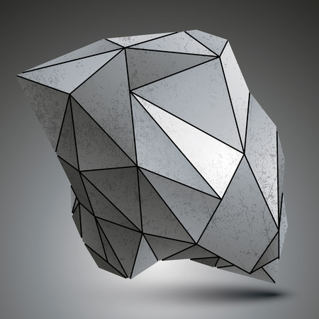 asymmetric: Deformed sharp metallic stone shaped object created from geometric figures. Contrast futuristic asymmetric element.