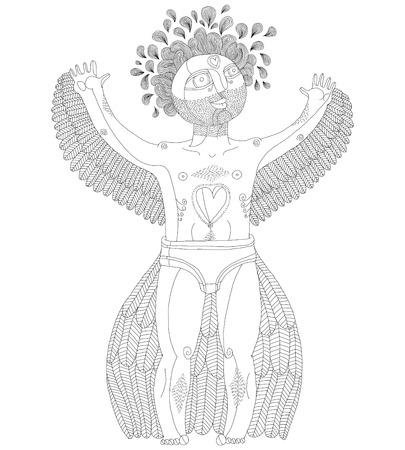 nude mann: Vektor-handgezeichnete grafische Illustration seltsame Kreatur, cartoon nackten Mann mit Fl�geln, tierische Seite des Menschen. Idol-Konzept, Liebe Thema Zeichnung. Illustration