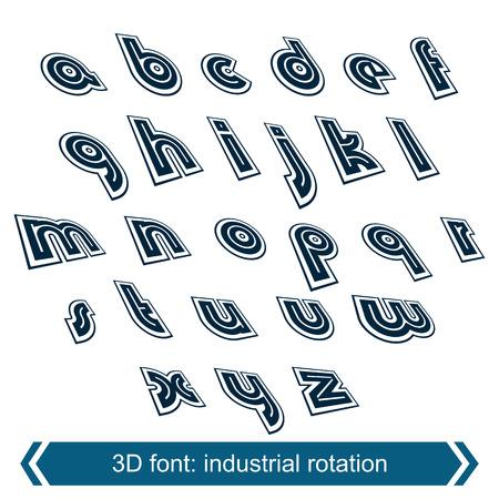 verb: Dimensional move font, vector line retro style geometric font.