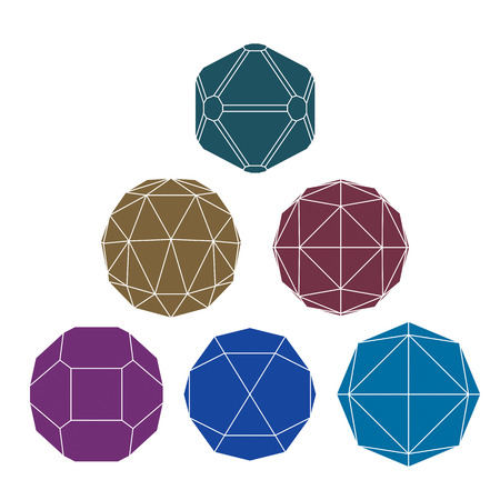 illustrated globes: Collection of 6 single color complex dimensional spheres and abstract geometric figures with white outline. Fractal 3D symbolic objects. Illustration