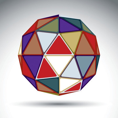constructed: Bright abstract spherical object with kaleidoscope effect, 3d imaginative sphere. Stylish orb constructed from colorful triangles.
