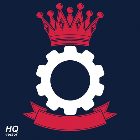 conceptual symbol: Vector industrial design element, cog wheel with a coronet and curvy ribbon. Best engineering project award conceptual symbol. Royal heraldic coat of arms. Illustration