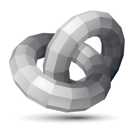 spatial: 3D vector abstract design object, polygonal complicated figure, circles. Grayscale three-dimensional deformed shape, render.
