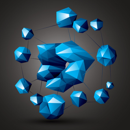 complicated: Complicated abstract colorful 3D shapes, vector digital objects. Technology theme. Illustration