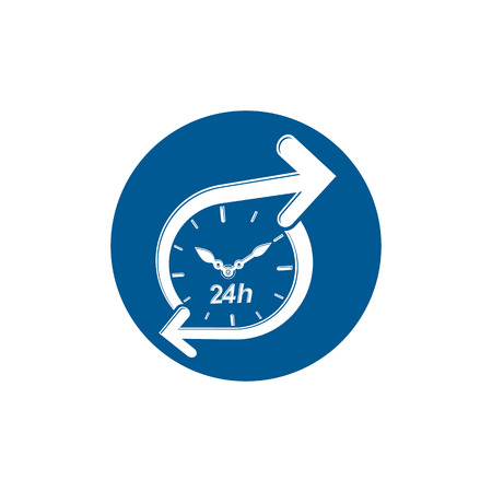 24 hours: Graphic web vector 24 hours timer, around-the-clock pictogram. Business time management illustration. Illustration