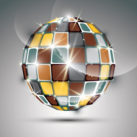 gold metal: 3D metal gold sparkling mirror ball created from geometric figures. Vector festive illustration - eps10 futuristic bright stone.