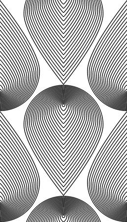 figuras abstractas: Modelo abstracto ilusoria blanco y negro sin fisuras con figuras geométricas. Vector simétrica simple telón de fondo. Vectores