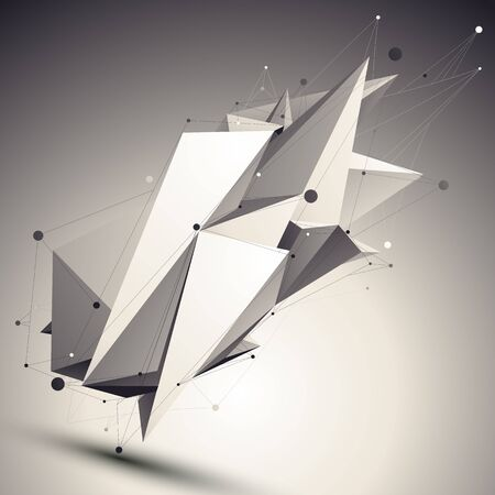 asymmetric: 3D vector abstract design contrast template, polygonal complicated asymmetric figure with lines mesh placed over shaded background.