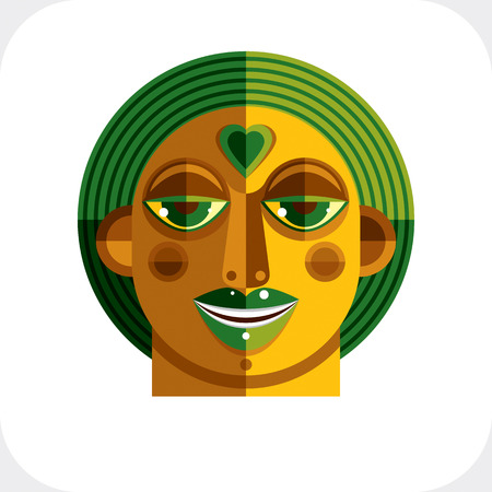 avantgarde: Avant-garde avatar, personality face created in cubism style. Modernistic geometric portrait, multicolored vector illustration of facial expression.