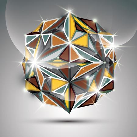 gala: 3D gold shiny sphere. Vector fractal dazzling abstract illustration - eps10 jewel. Gala theme. Fantastic kaleidoscope object.