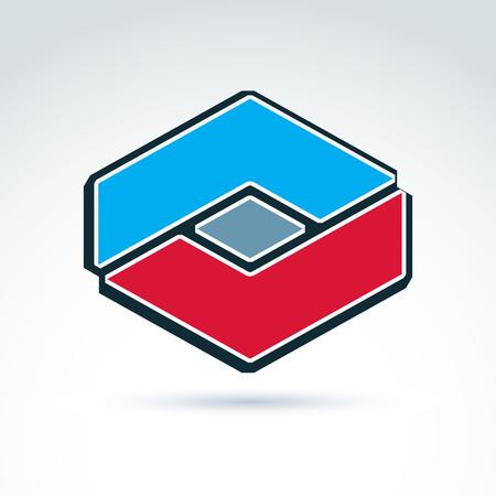 entwine: Complesso elemento aziendale geometrico creato da parti separate. Vector abstract emblema, esagono, diamante. Vettoriali
