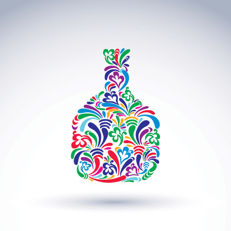 flowery: Colorful flower-patterned bottle, alcohol and relaxation concept. Stylized flowery glassware. Graphic abstract design vector object, holiday idea. Illustration