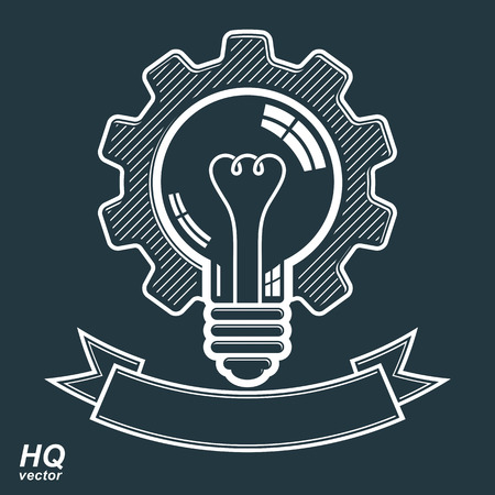 conceptual symbol: High quality vector light bulb with a cog wheel. Manufacturing innovation symbol with curvy decorative ribbon. Technical solution conceptual symbol, retro graphic gear. Illustration