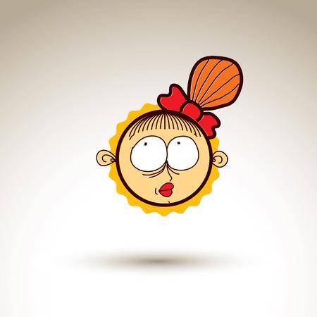 temperamento: Vector art�stico colorido dibujo de chica de ensue�o feliz con el peinado hermoso, social elemento de dise�o de red aislada en blanco. Ilustraci�n infantil, las emociones y el concepto de temperamento humano. Vectores