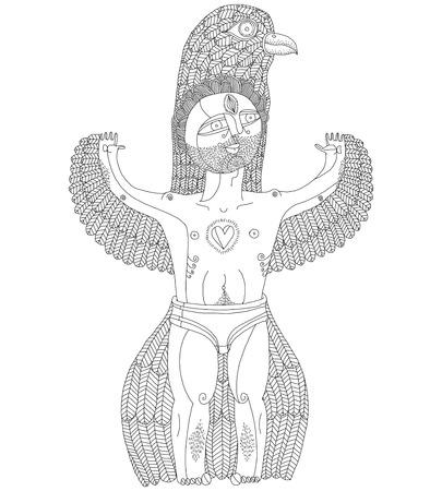 nude mann: Vektor-handgezeichnete grafische Illustration seltsame Kreatur, cartoon nackten Mann mit Fl�geln, tierische Seite des Menschen. Idol Konzept, frei wie V�gel Allegorie Zeichnung