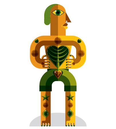 cubismo: Avant-garde avatar, colorido dibujo creado en el estilo del cubismo. Retrato geométrica modernista, ilustración vectorial de ídolo. Árbol del concepto de vida.