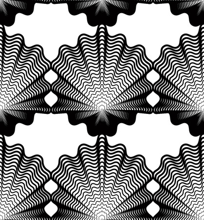 intertwine: Ornate vector monochrome abstract background with black lines. Symmetric decorative graphical pattern, geometric illustration.