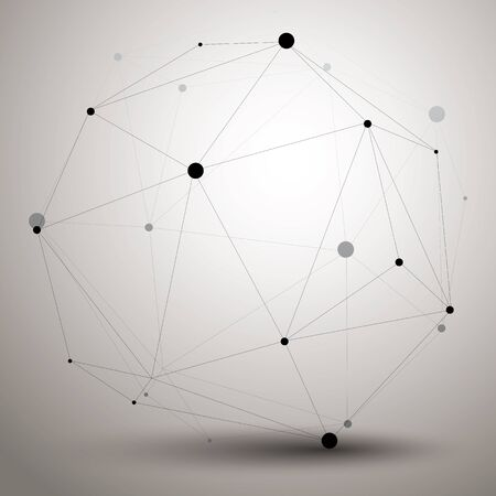 spatial: Vector digital 3d abstraction, lattice geometric polygonal element, perspective wireframe object. Illustration