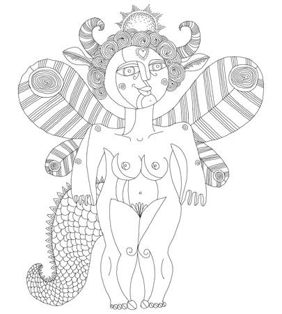 nude woman: Vector illustration of bizarre creature, nude woman with wings, animal side of human being. Goddess of sun conceptual hand drawn allegory image. Illustration