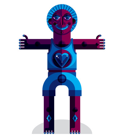 idol: Meditation theme vector illustration, drawing of a creepy creature made in modernistic style. Spiritual idol created in cubism style.