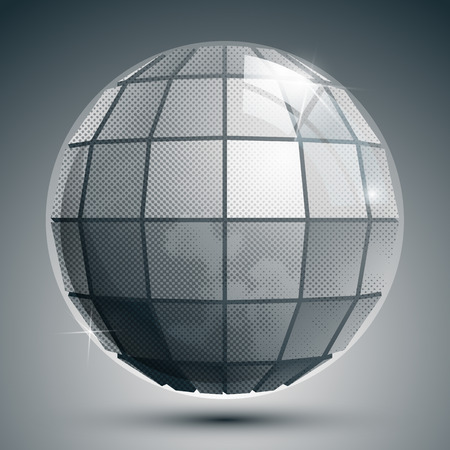 synthetic: Plastic pixilated 3d spherical object, grayscale squared synthetic element with dots.