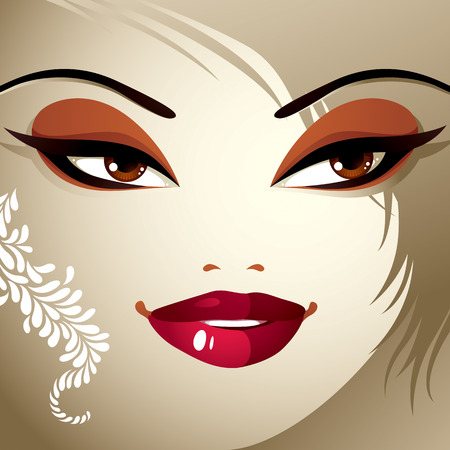 eyebrows: Face makeup. Lips, eyes and eyebrows of an attractive woman displaying doubt. Fashionable female haircut.