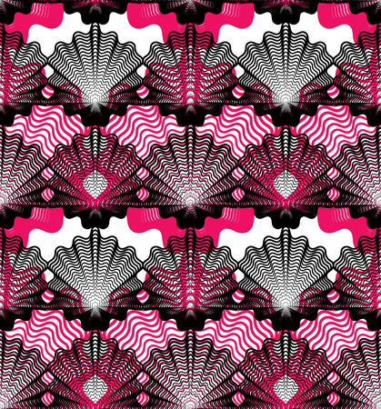 overlie: Colorful vector ornamental pattern, seamless art background decorated with lines, best for graphic and web design. Geometric ornate overlapping decoration.