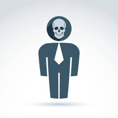 worker man: White collar office worker man icon with skull, conceptual vector symbol.