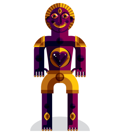 weirdo: Cubism theme vector graphic illustration, modernistic symbol. Geometric cartoon character, mythic creature or shaman.